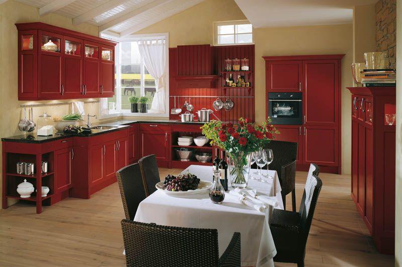 Kücheneinrichtung kreuzworträtsel ~ Häcker küchen: bristol kaminrot #landhausstil küche landhausstil