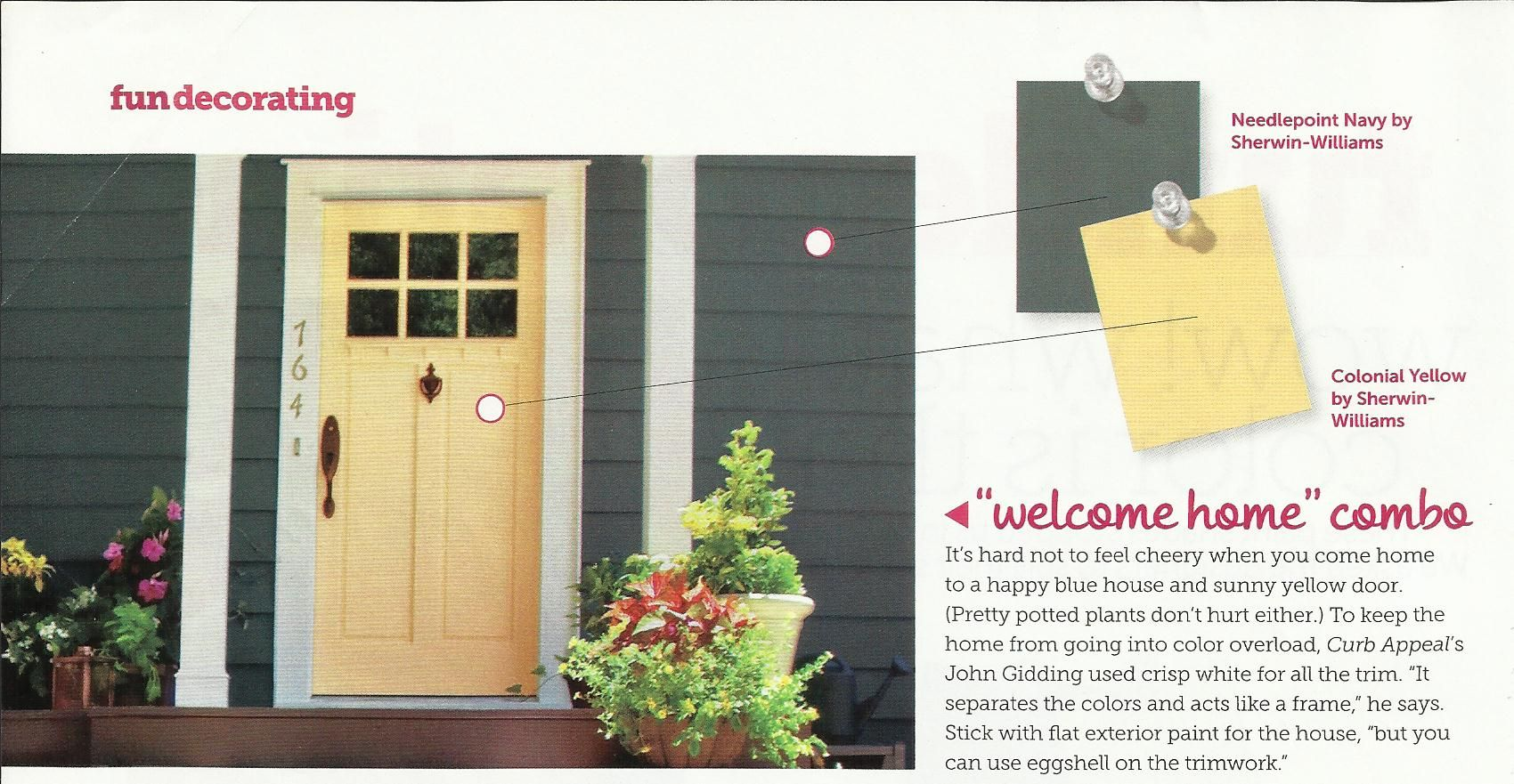 Exterior House Paint Colors Per Hgtv Magazine Navy And Yellow For The Home Pinterest