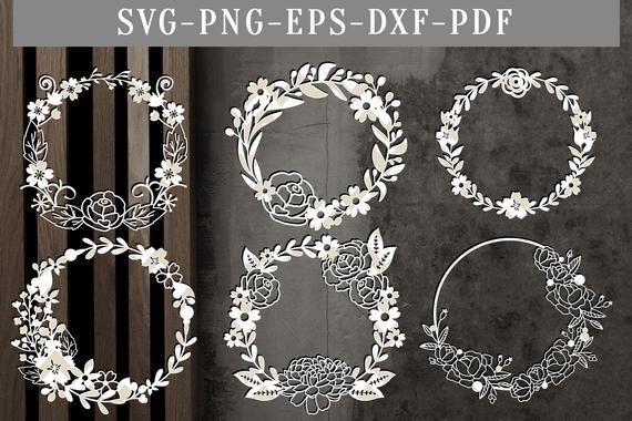 Photo of floral wreath bundle papercut template, bundle of 6 floral svg cut files, wreath scrapbook flowers, silhouette cameo, cricut dxf eps, png