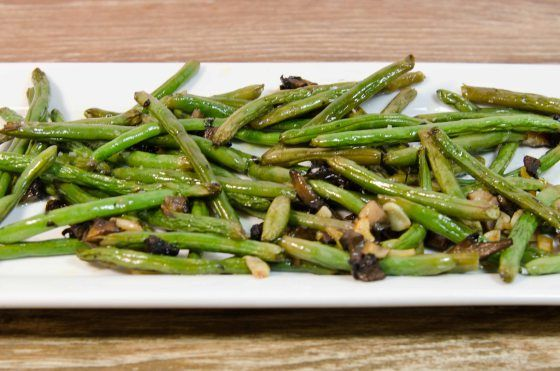 Easy roasted green beans with mushrooms and garlic.  YUM!