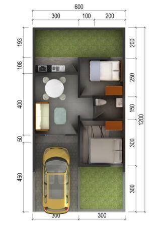Denah Rumah Minimalis Type 36 in 2020 | Small house design ...