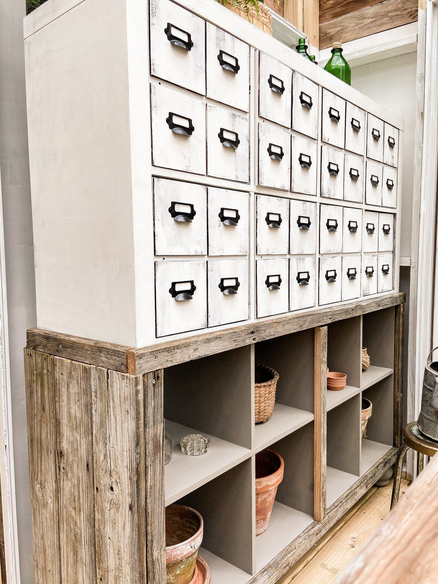Diy faux apothecary card file chest the