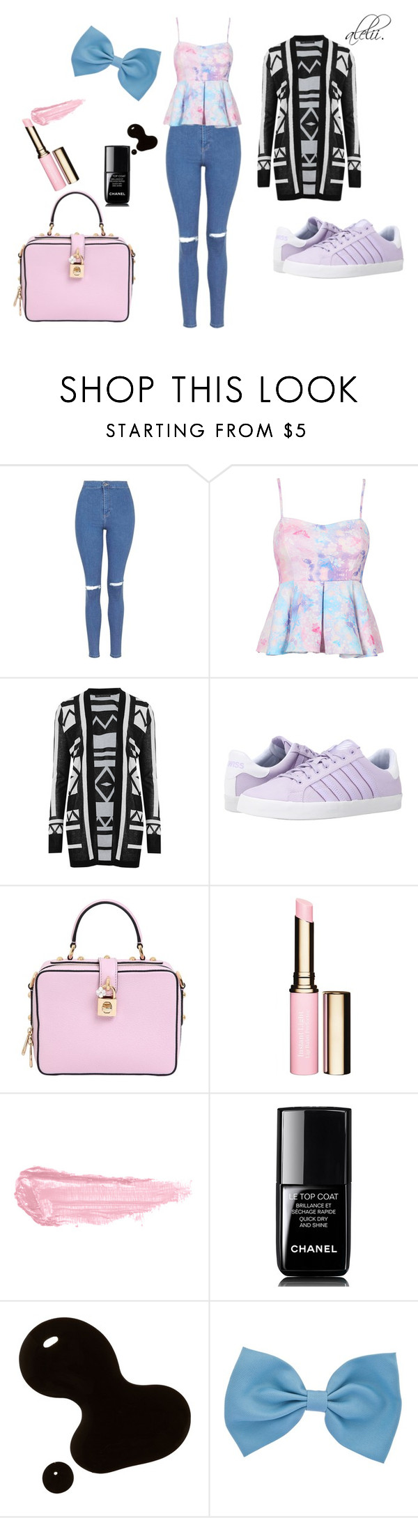 """look in pastel colors."" by alejandralilithg on Polyvore featuring Topshop, M&S Collection, K-Swiss, Dolce&Gabbana, Clarins, By Terry and Chanel"