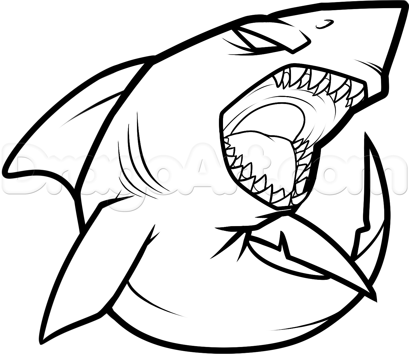 How to draw a cool shark step 7