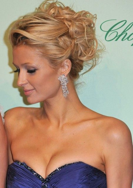 Wedding Guest Hairstyles For Curly Hair : Curly wedding updo with white hair ornaments. heres your