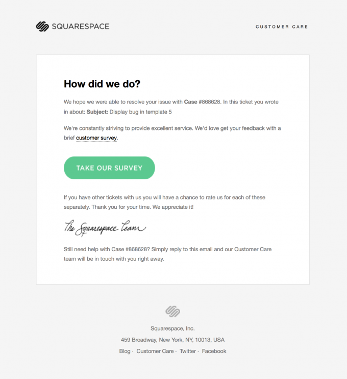 Customer Support Survey Email Design From Squarespace  Email