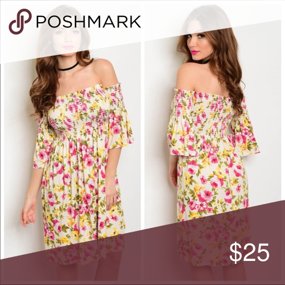 9e370978bab8 Just In❤Floral Off the Shoulder Dress Off the shoulder ivory floral print  midi dress with short sleeves and a flowy fit. Made In: USA Material: 95%  RAYON ...