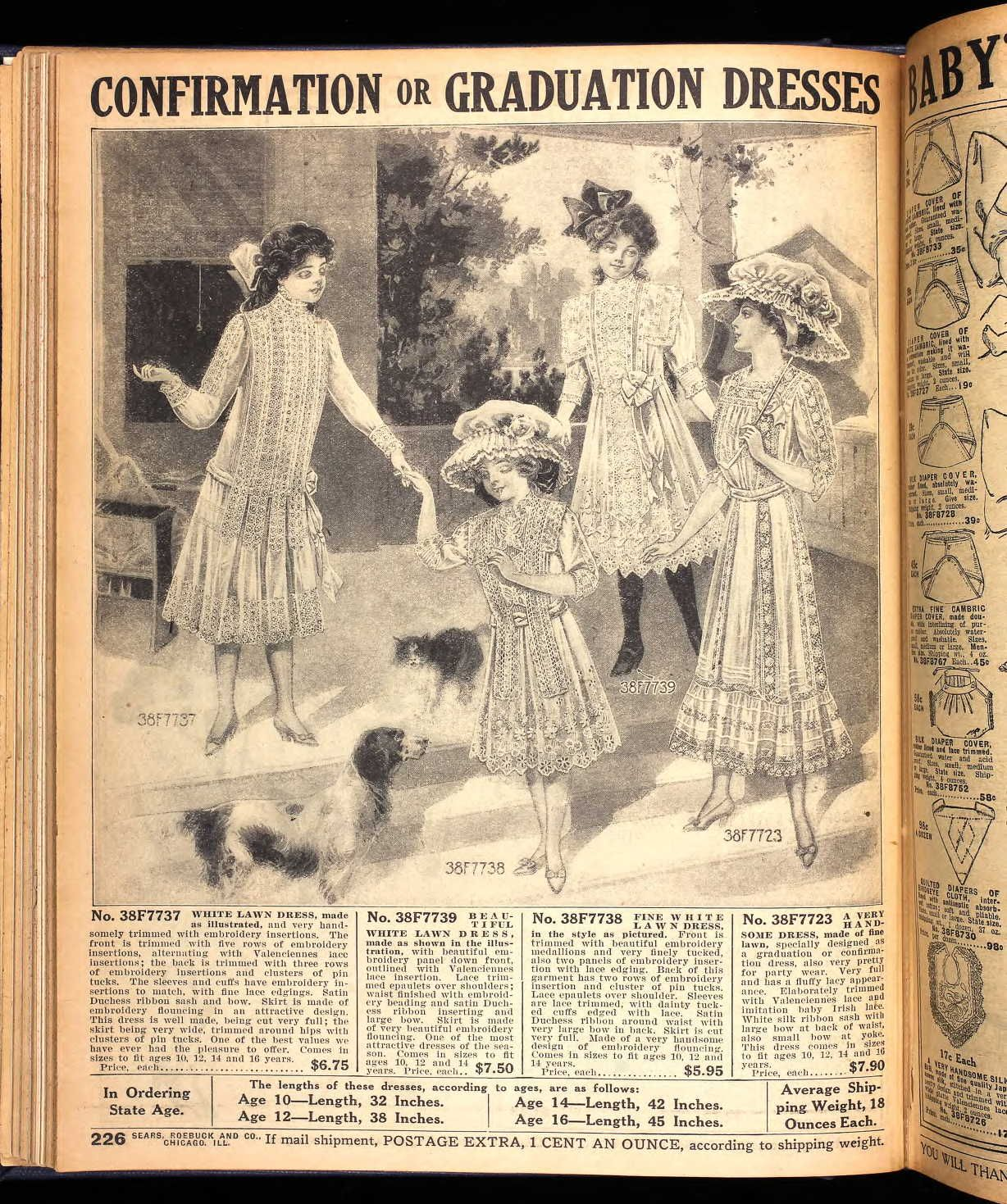 1911 Sears confirmation and graduation dresses for girls