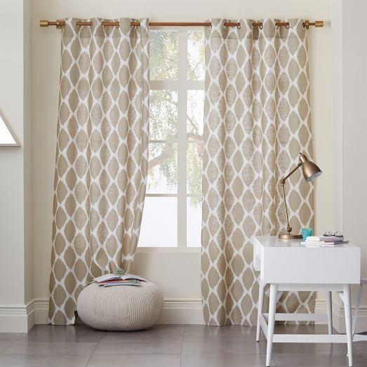 Captivating U003c3 Ikat Ogee Linen Curtain   Ivory