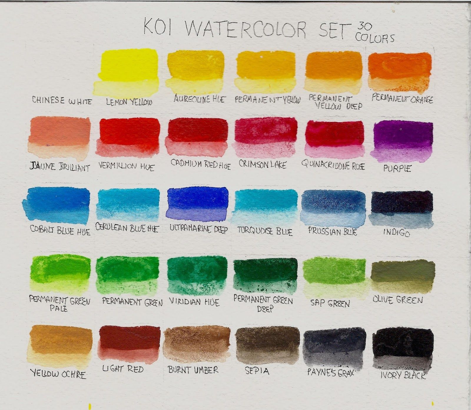 Watercolor artists names - Color Name Chart For Sakura Koi Watercolor Pocket Field Set 30 Artists Tools Pinterest Watercolors Colors And 30