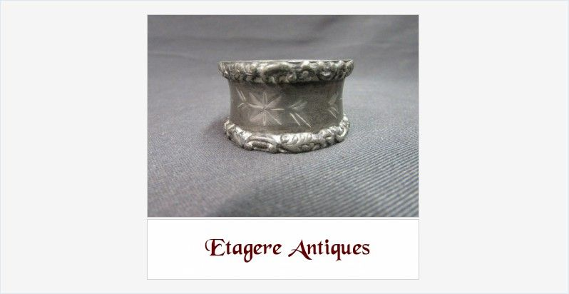 #Vintage #Pewter #NapkinRing Scrolled Border Engraved Flowers #gotvintage #collectible