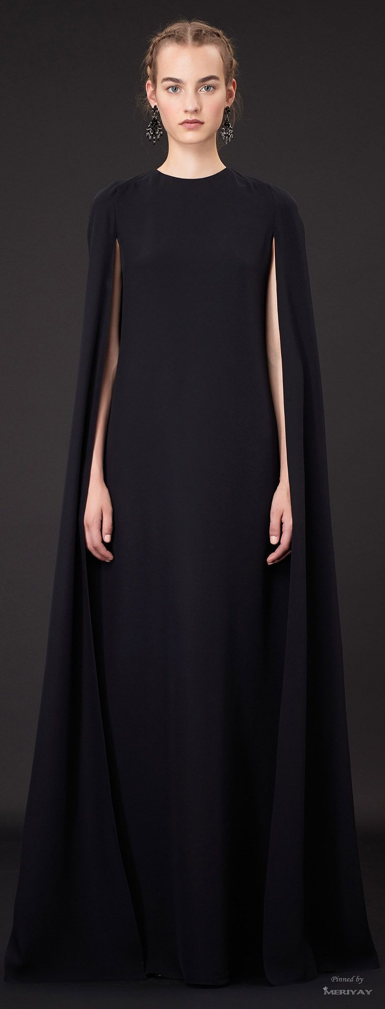 Understated elegance long black cape dress with clean minimal