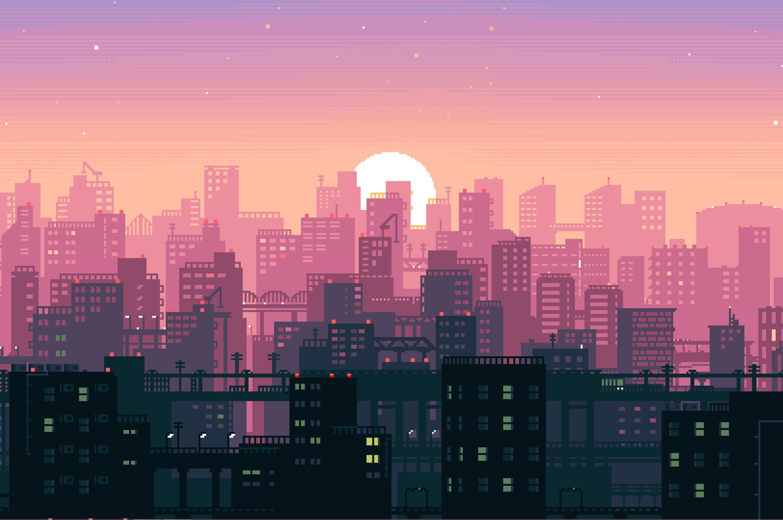 8Bit Sunset [2560x1700] Pixel art background, Aesthetic