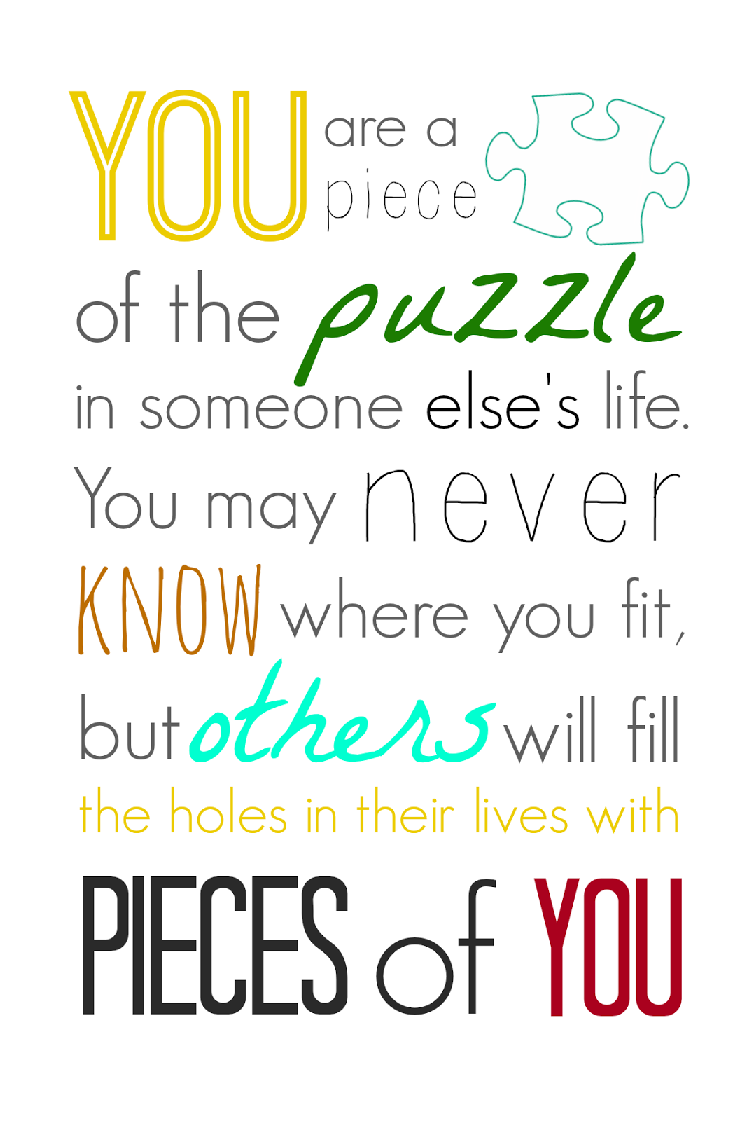 You Are A Piece Of The Puzzle Printable Sweet Charli