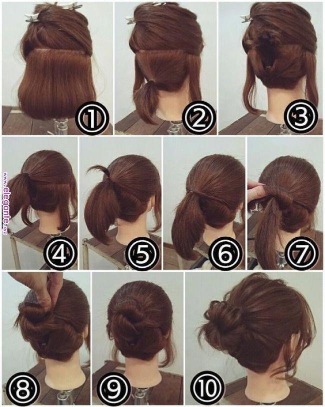 Easy Hairstyles At Home For Medium Length Hair Easyhairstyles Short Hair Makeup Short Hair Styles Hair Updos Tutorials