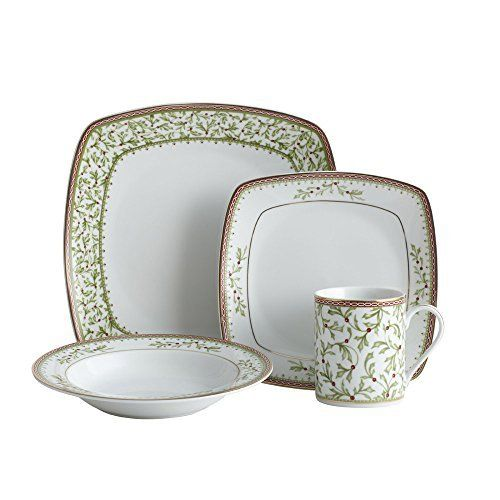 Mikasa Holiday Traditions Square 32-Piece Dinnerware Set Service for 8  sc 1 st  Pinterest & Mikasa Holiday Traditions Square 32-Piece Dinnerware Set Service ...
