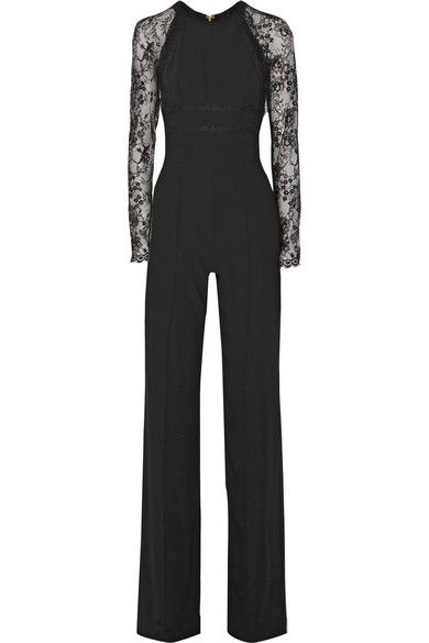 Black crepe Lace sleeves, inserts and trims, seam detail, slant pockets, partially lined Hook and zip fastening at back 100% polyamide; combo1: 100% polyamide; combo2: 70% polyamide, 30% polyester; lining1: 57% rayon, 43% polyester; lining2: 100% silk Dry clean