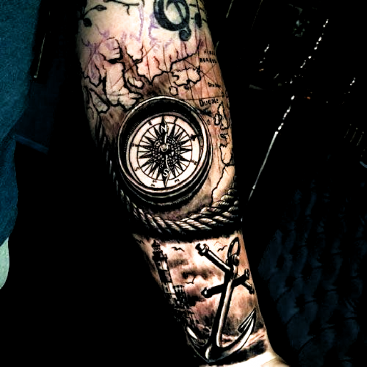 Compass Anchor Map Forearm Tattoo Designs For Guys - Best Forearm Tattoos For Men: Cool Inner and Ou