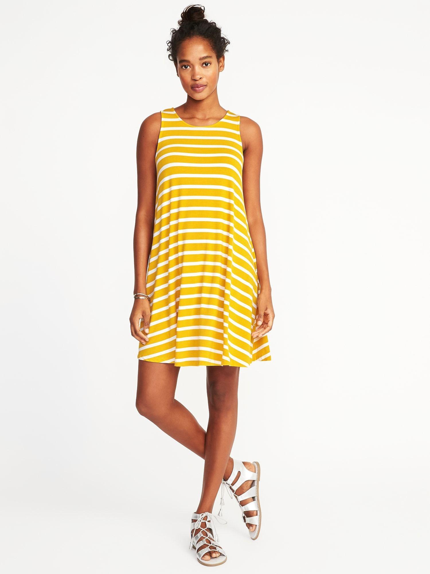 61b3f29720804c Jersey-Knit Sleeveless Swing Dress for Women