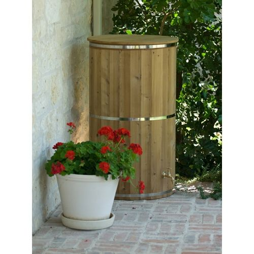 Eco Round Wood Rain Barrel 67 Gallons Rain Barrel Water Barrel Rain Water Collection