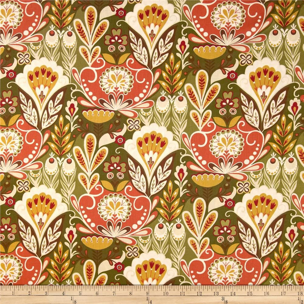 Moda Allure Flourish Olive from @fabricdotcom  Designed by Sanae for Moda, this cotton print is perfect for quilting, apparel and home decor accents.  Colors include brown, beige, cream, orange, gold and red.