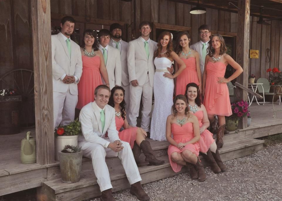 Coral and mint wedding! Coral bridesmaid dresses. Mint ...