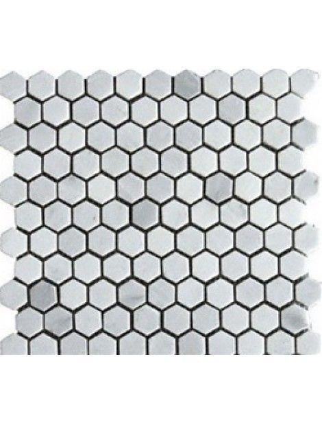 1x1 Bianco Carrara Marble Hexagon Pattern Honed Mosaic Tile Bianco Carrara Marble Bianco Carrara Carrara Hexagon Mosaic Tile Hexagonal Mosaic Mosaic Tiles