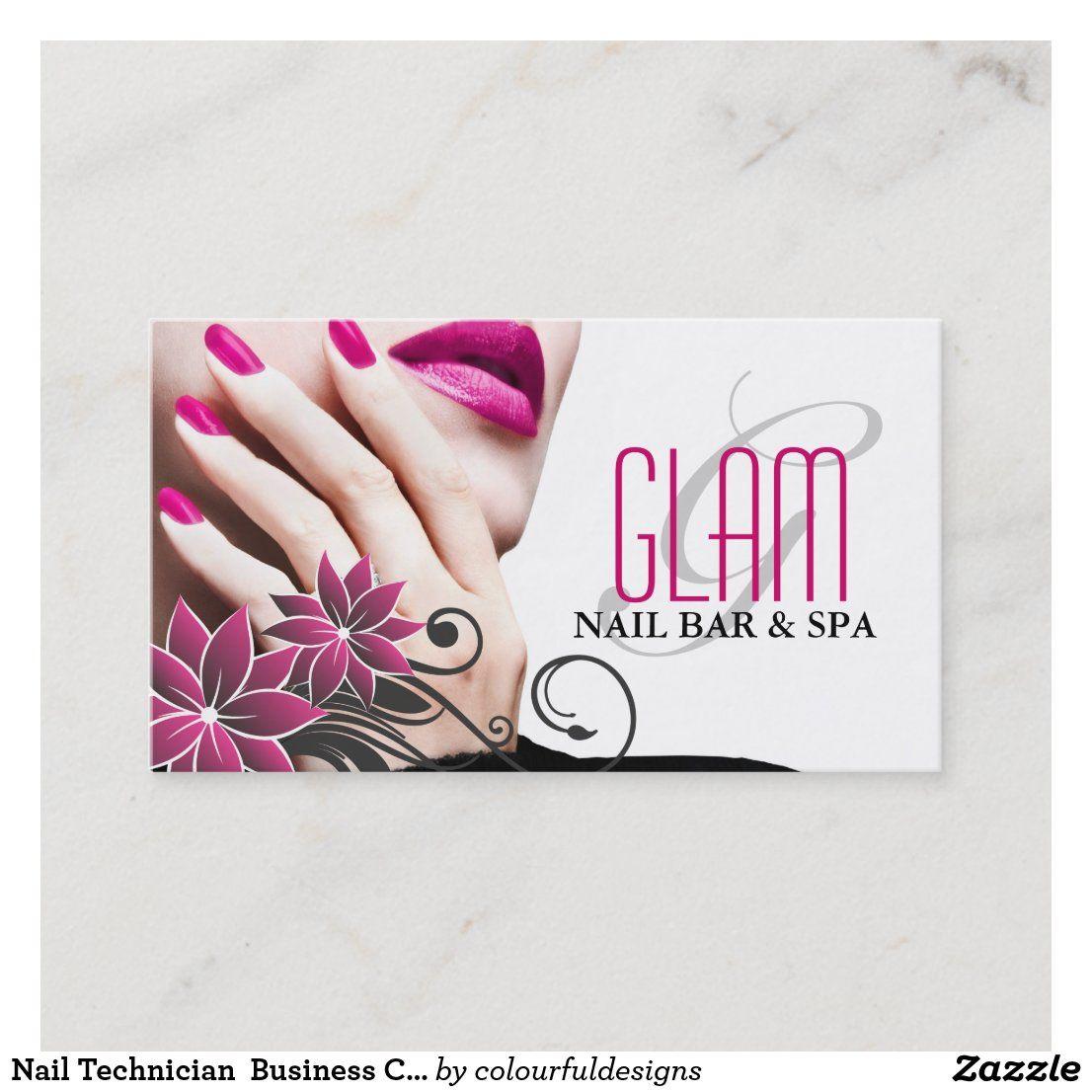 Nail Technician Business Card Zazzle Com In 2021 Nail Salon Business Cards Nail Tech Business Cards Salon Business Cards