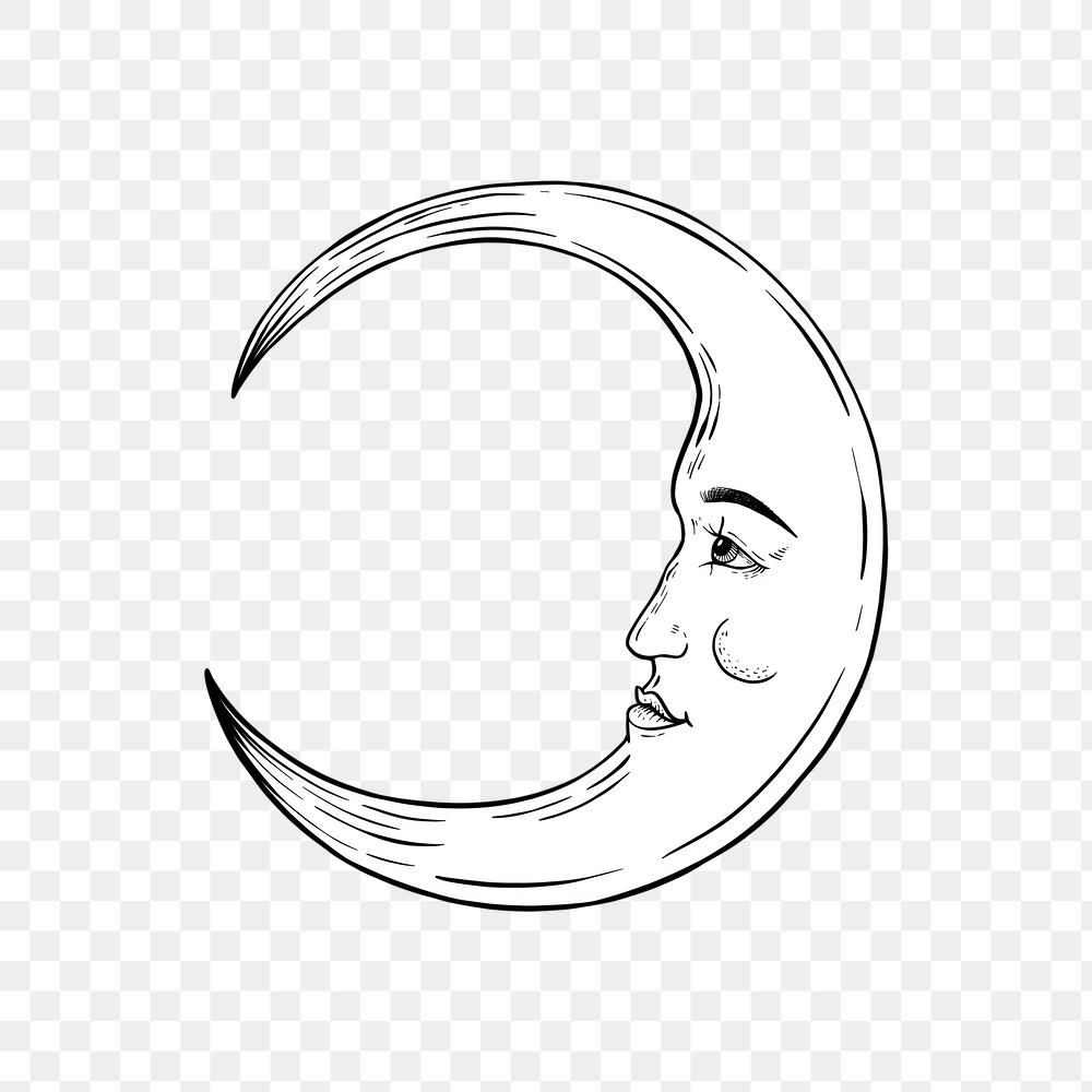 Crescent Moon Face Outline Sticker Overlay Design Element Free Image By Rawpixel Com Noon Face Outline Moon Illustration Moon Outline