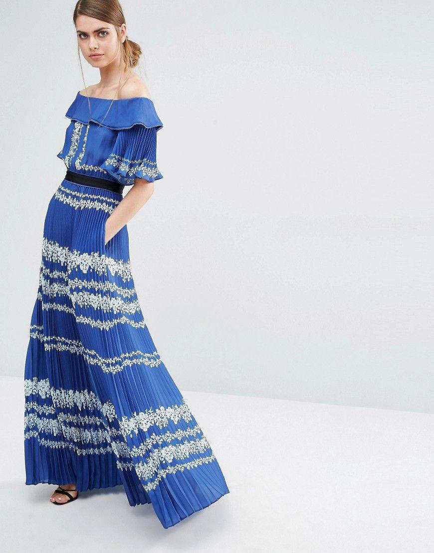 Image 1 of Self Portrait Off Shoulder Maxi Dress