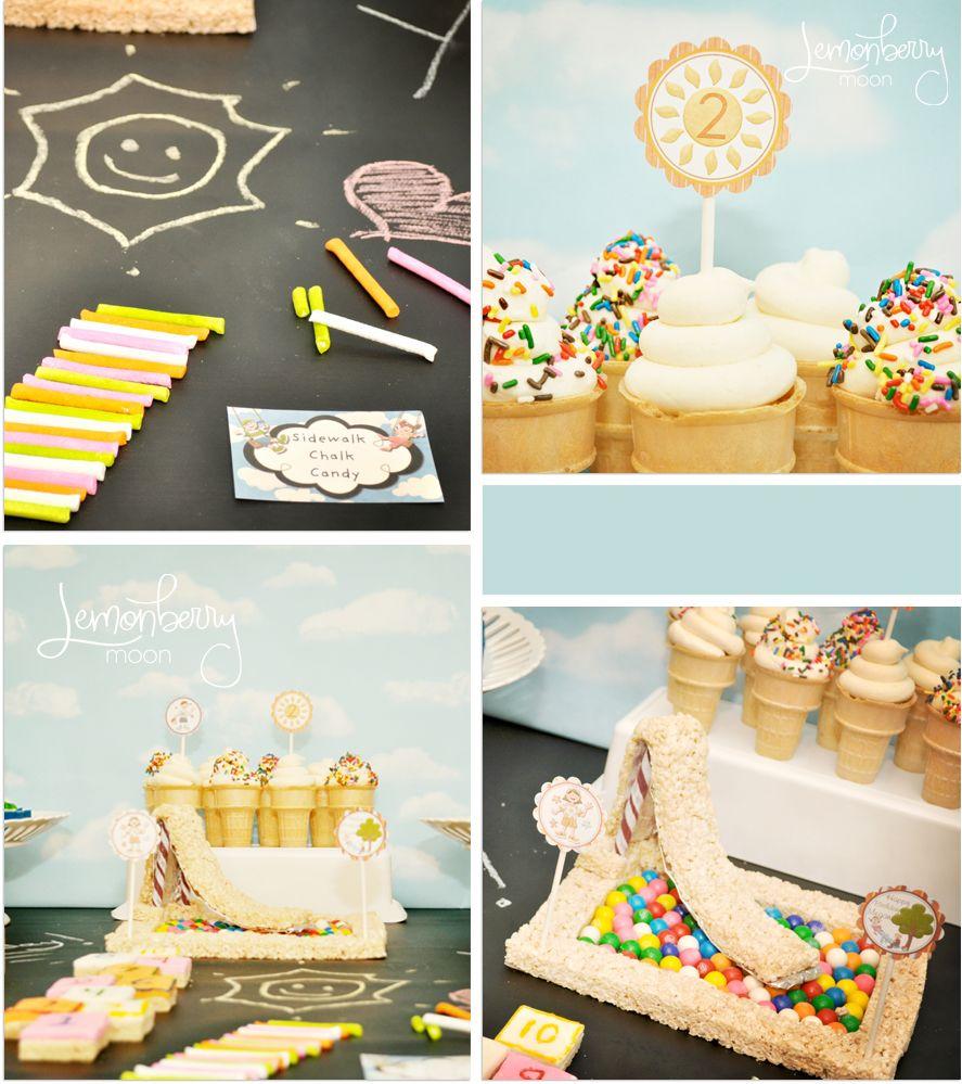 Edible Chalk, Ice Cream Cone Cupcakes, Cereal Treat Slide