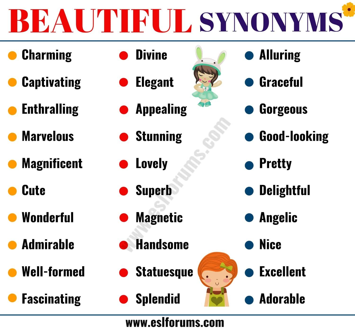 Beautiful Synonym 60 Best Synonyms For Beautiful Esl Forums English Vocabulary Words Writing Words Learn English Words