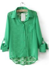 Green Lapel Long Sleeve Back Lace Hollow Blouse $29.52