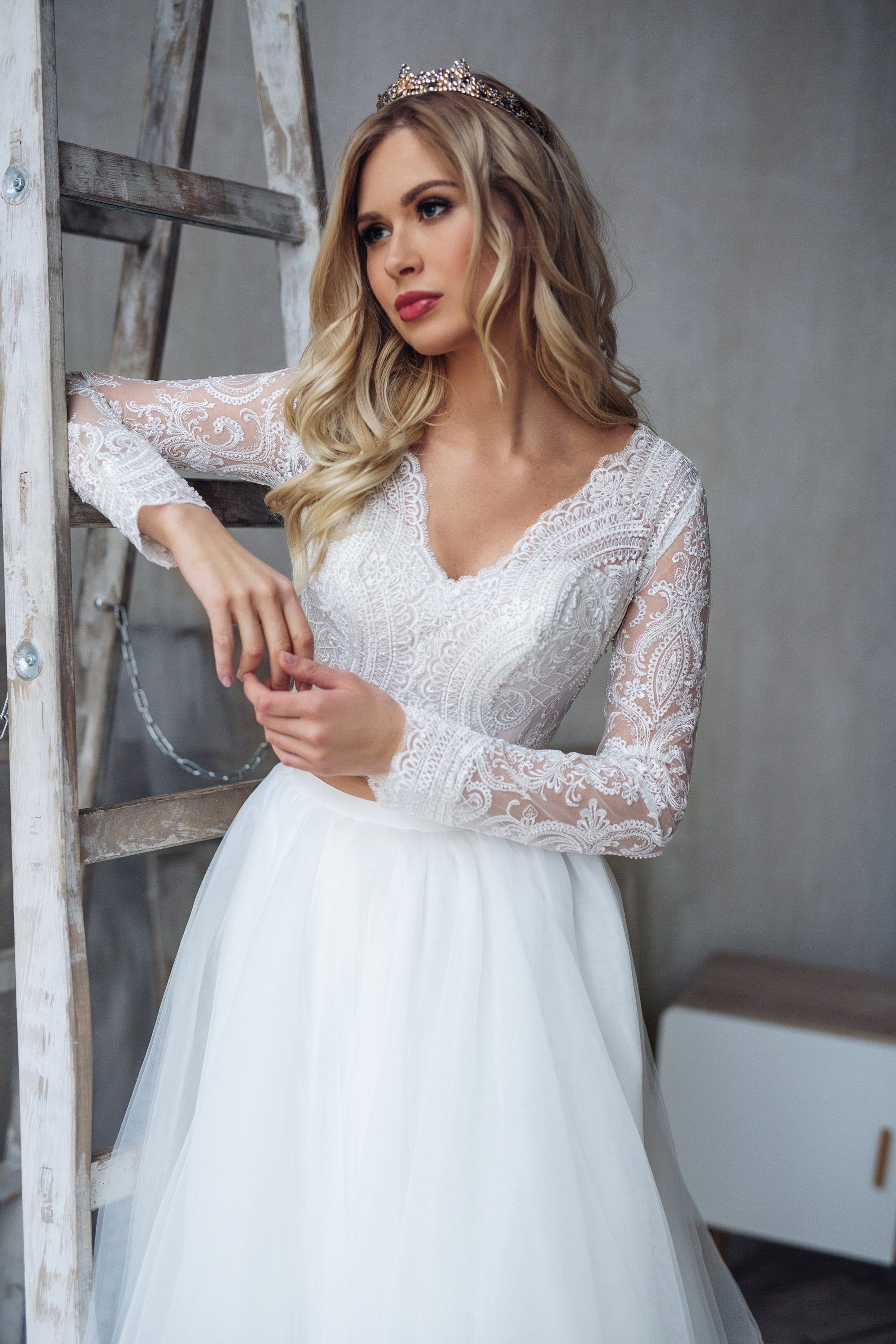 Tulle Long Sleeve Dress Lorelei Bridal Separates Top And Skirt
