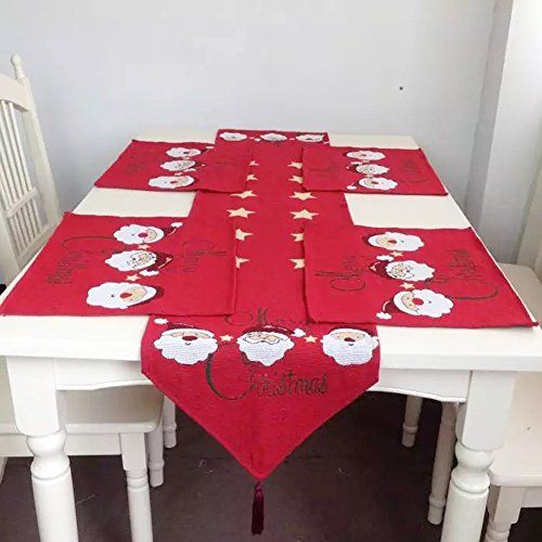 Christmas Table Runner,WindGoal Christmas Table Decoration Tapestry Table  Cloth Dining Mat Coasters Placemat For New Year Table Decoration