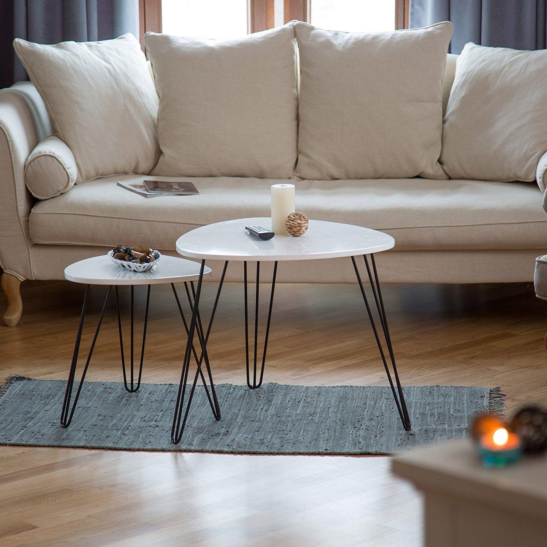 Wunderbar Relaxdays Beistelltisch Weiss 2er Set, Eckig, Dreibeiner, Holz, Metall, HxD: