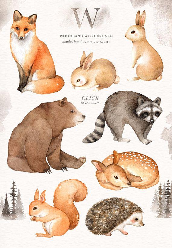Woodland Wonderland Watercolor Clip Art Woodland Animals | Etsy
