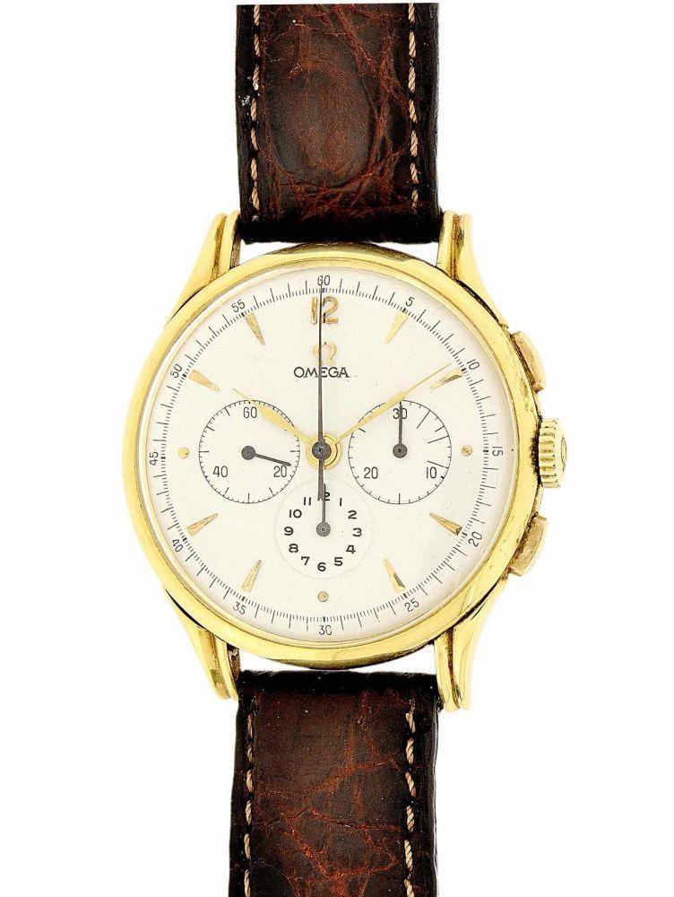 OMEGA, Chronograph, Biel ca. 1968. Gold-Armbanduhr 18K, 30-Minuten- und 12-Stundenzahler. Pressbode