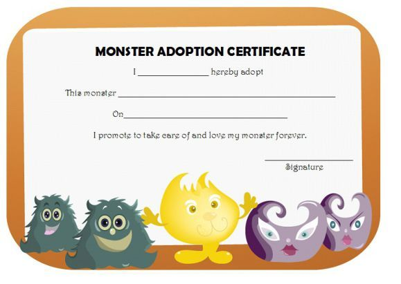 Monster Adoption Certificate  Adoption Certificate Template