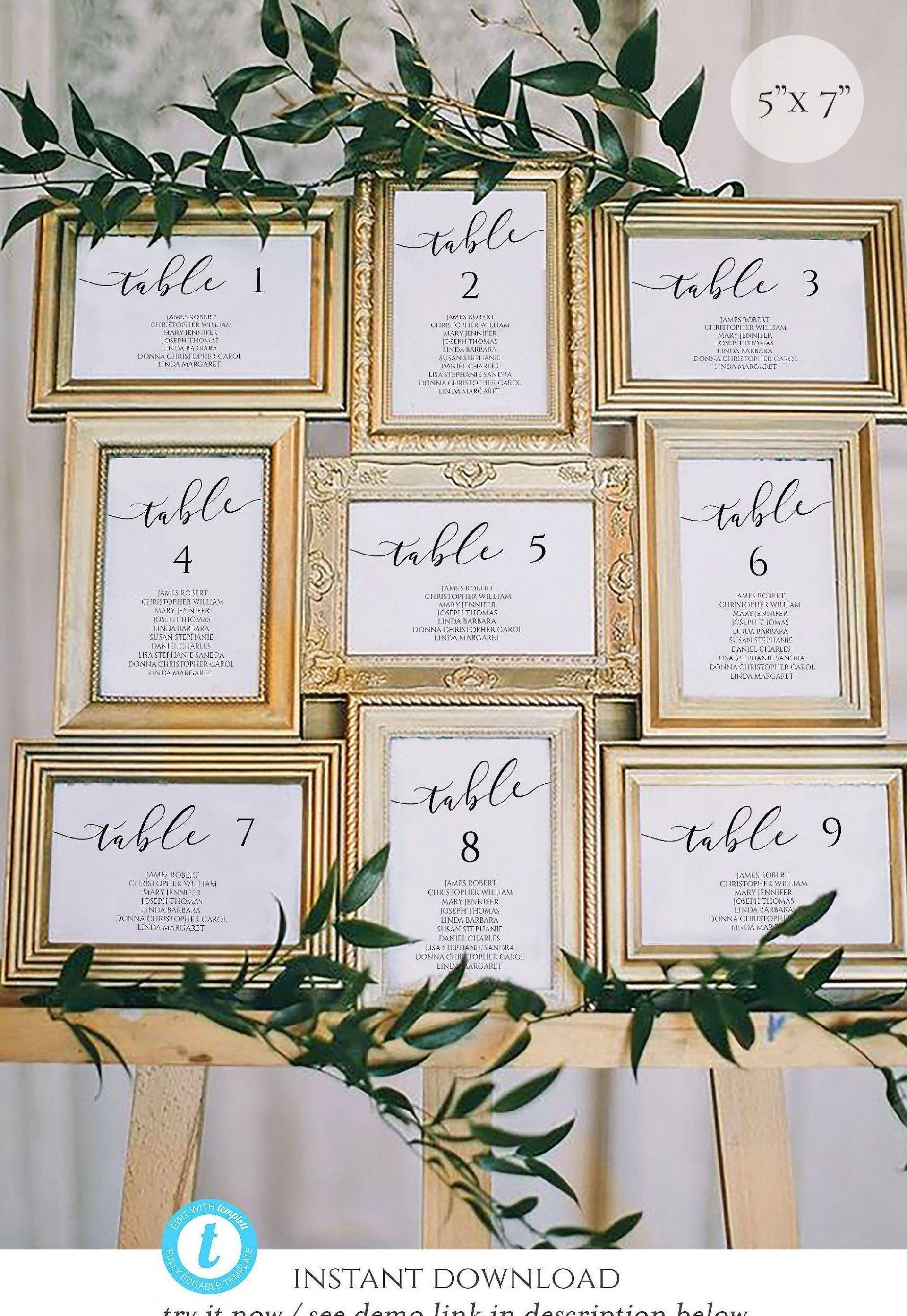 5x7 Wedding Seating Chart Template Calligraphy Table Seating Etsy Table Engagementtable T Seating Chart Wedding Table Seating Chart Seating Chart Template Wedding reception seating chart template