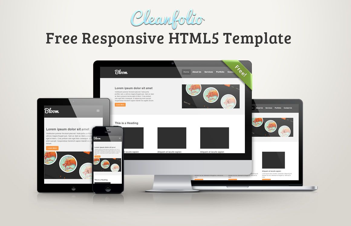 Cleanfolio: Free Responsive HTML5 Template | Freebies | Pinterest