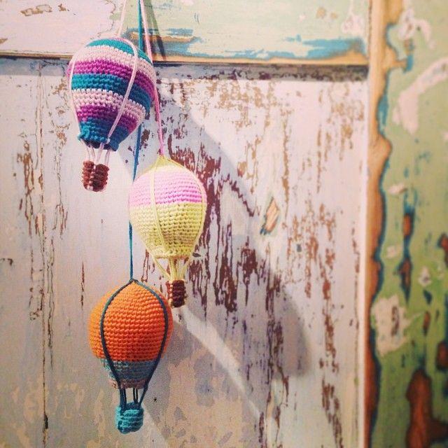 Crocheted hot air balloons