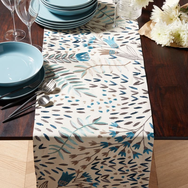 Free Shipping Shop Milla 90 Blue Embroidered Table Runner