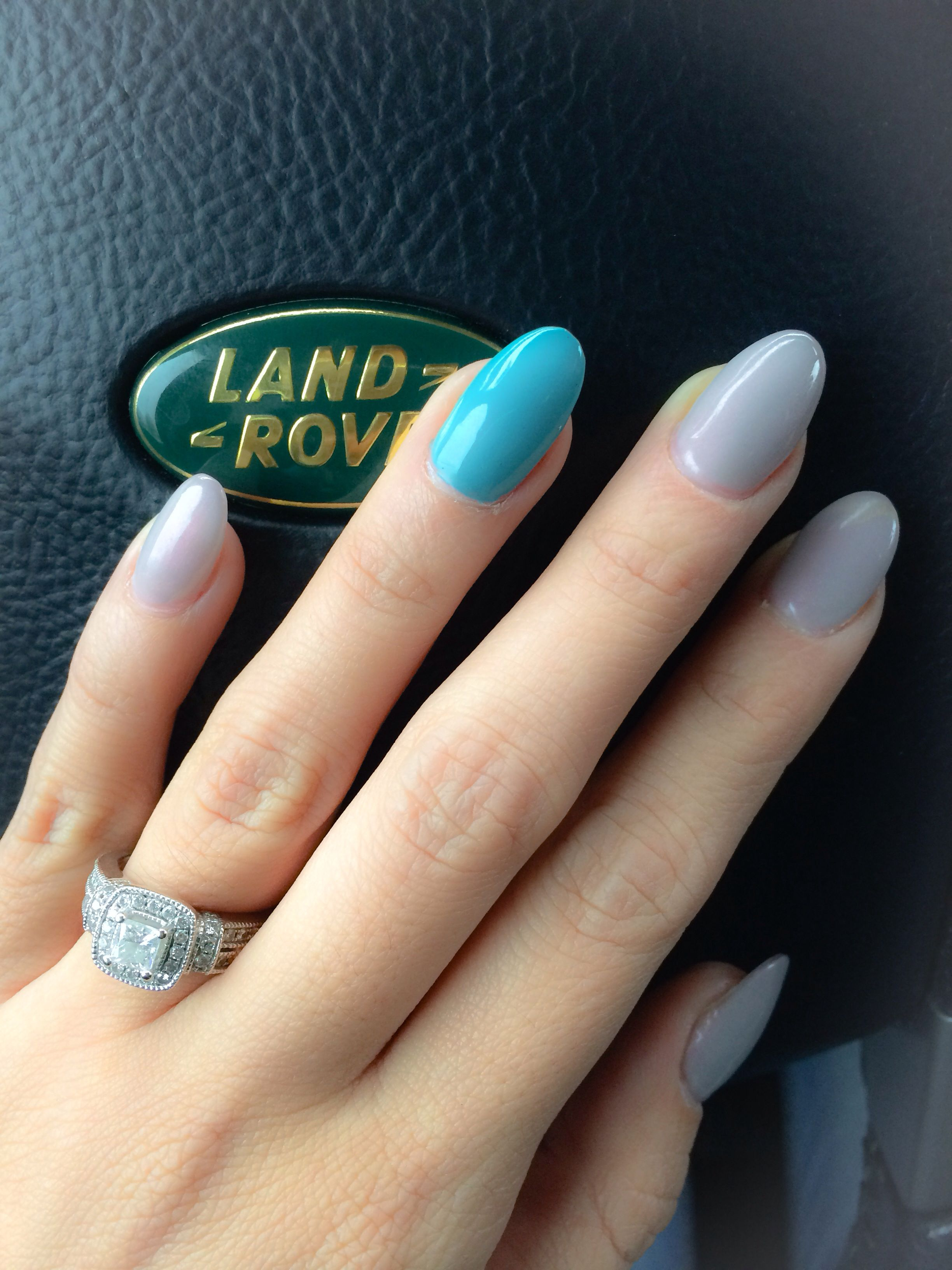 pearlescent grey & teal almond