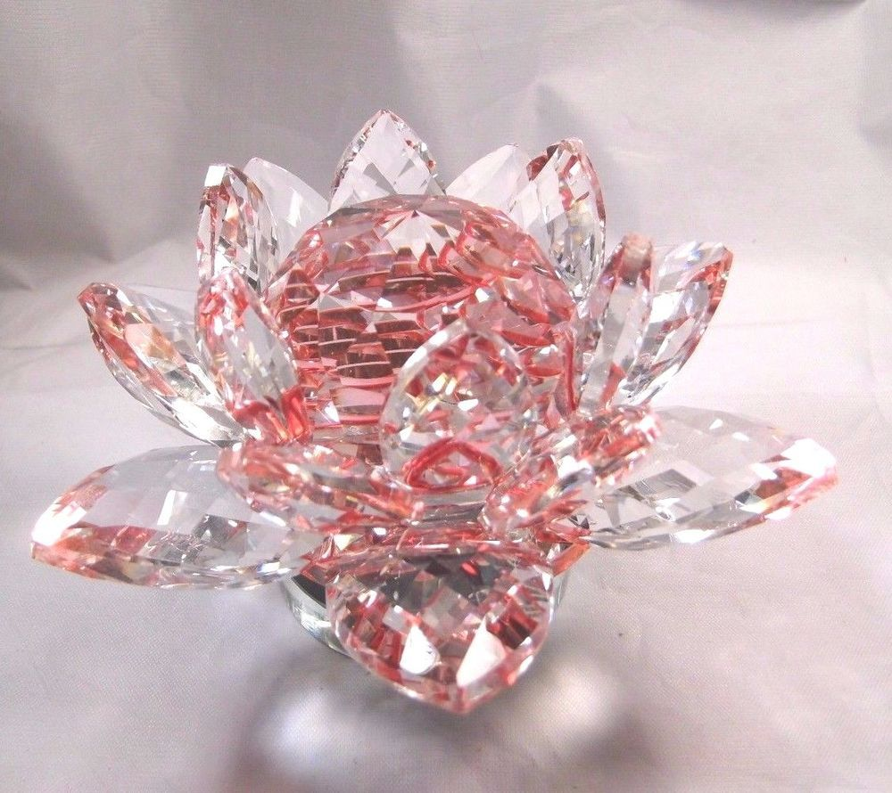 Home Decorative Crystal Lotus Flower On Turning Base 234500 Tgw