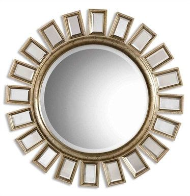 Uttermost Cyrus Round Silver Mirror is part of Silver Home Accents Inspiration - Product Description This Round, Beveled Mirror Has A Wood Frame And Is Accented By Several Individual Beveled Mirrors  The Frame Finish Is Distressed Silver Leaf With Light Antiquing Giving The Appearance Of Aged Champagne  Dimensions 33 5H x 33 5W x 1 25D Materials Used Mirror & Poly Resin & Mdf Artist NA