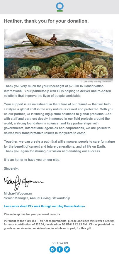 Conservation International Thank You email