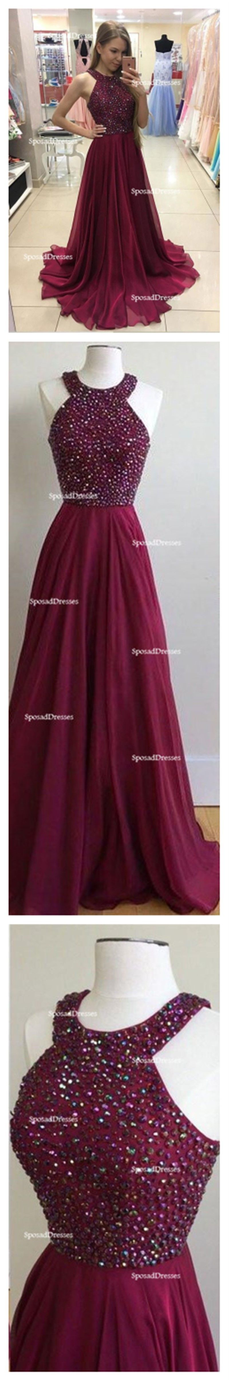 Simple halter burgundy evening prom dresses custom long prom