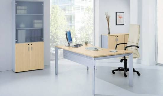poste de travail individuel table de travail bureau plan vague et armoires 4most gdb bureau. Black Bedroom Furniture Sets. Home Design Ideas