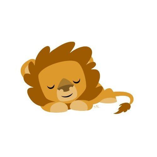 Lion sleeping. Cartoon round sticker everything